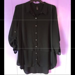Beautiful Black Tiered Sheer Blouse